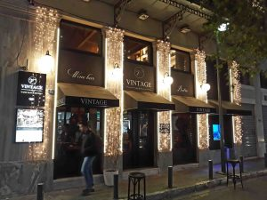 Picture from outside Vintage Wine Bar Bistro Athens Greece-min