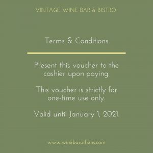 Vintage Wine Bar Bistro Athens Voucher Term and Conditions